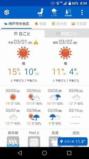 天気アプリ起動画面