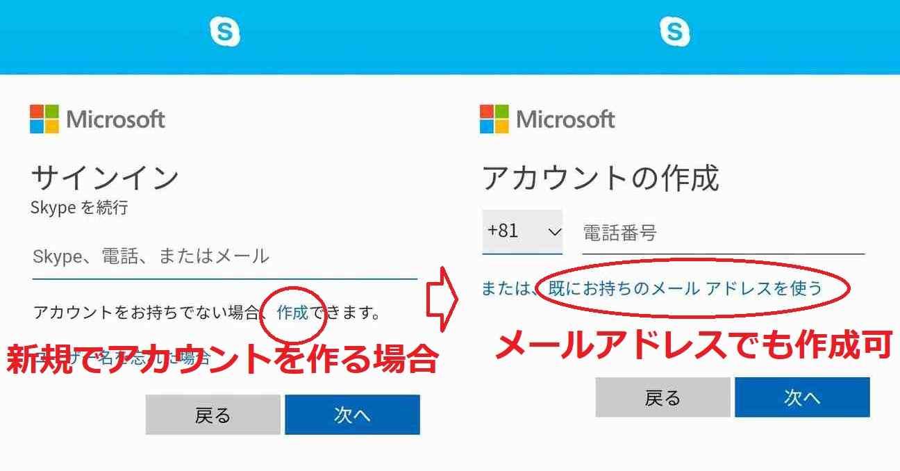skypeのアカウント作成画面
