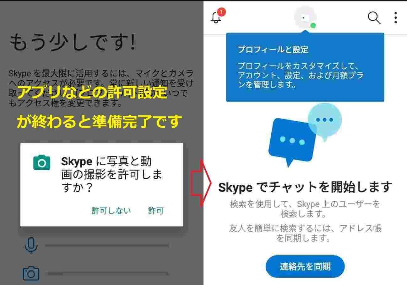 Skypeの最終確認画面