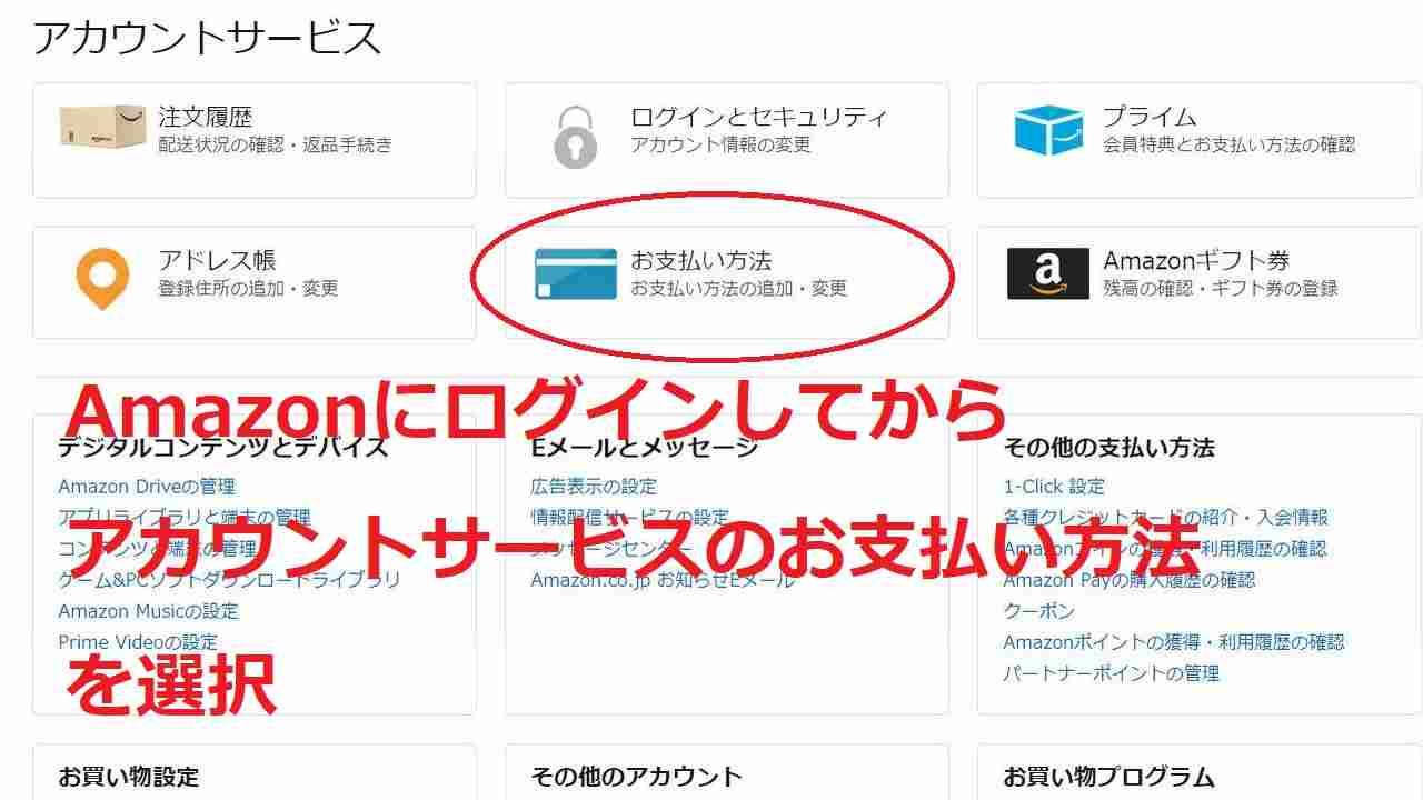 Amazonでの支払い設定