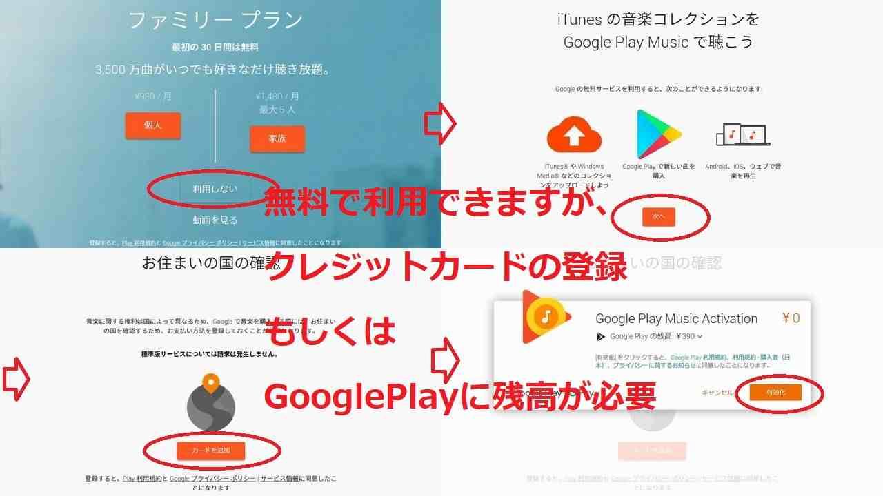 GooglePlayMusicの登録手順